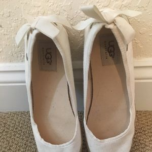 UGG Canvas Ballet Flats with Ribbons